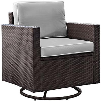 Crosley Furniture Palm Harbor Outdoor Wicker Swivel Rocker Chair with Grey Cushions - Brown