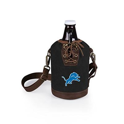 PICNIC TIME NFL Detroit Lions Canvas Lace-up Growler Tote with 64 oz Amber Glass Growler, Black