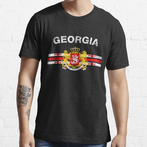 Georgisches Flaggen-Hemd - georgisches Emblem u. Georgia-Flaggen-Hemd Essential T-Shirt