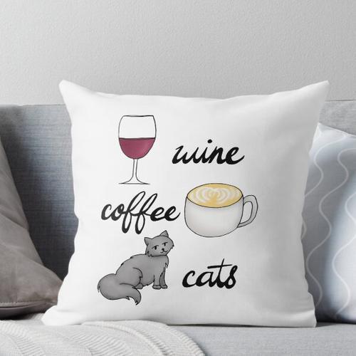 Wein Kaffee Katzen Kissen