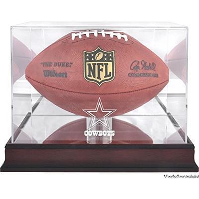 Mounted Memories Dallas Cowboys Mahogany Football Logo Display Case and Mirror Back
