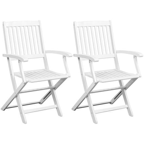 vidaXL Esszimmerstühle 2 Stk. Weiß Masivholz Akazie