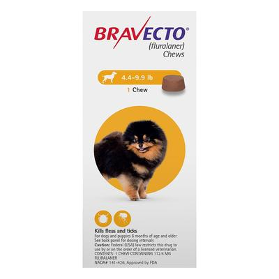 Bravecto For Toy Dogs 4.4 To 9.9 Lbs (Yellow) 2 Chews -