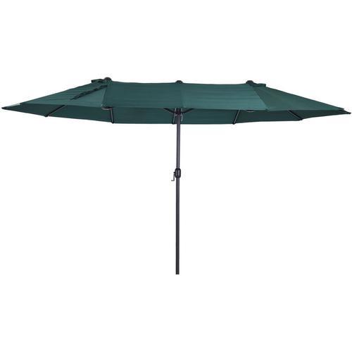 Outsunny® Sonnenschirm mit Handkurbel Gartenschirm Marktschirm Doppel 460x270cm Dunkelgrün
