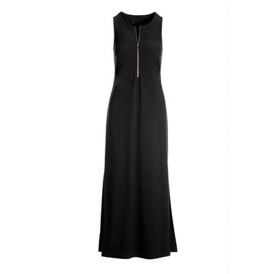 Boston Proper - Beyond Travel Zipper Maxi Dress - Jet Black - Xx Small