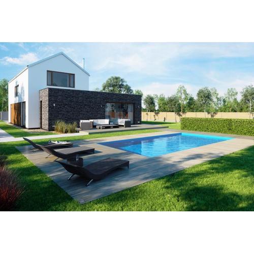 Fertigpool-Komplettset G1 mit Skimmer Fertigbecken 3,45 x 8,00m und Pool-Überdachung / Pooldach