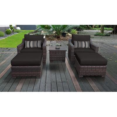 kathy ireland Homes & Gardens River Brook 5 Piece Outdoor Wicker Patio Furniture Set 05b in Onyx - TK Classics River-05B-Black