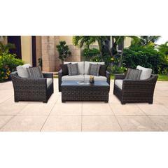 kathy ireland Homes & Gardens River Brook 5 Piece Outdoor Wicker Patio Furniture Set 05c in Truffle - TK Classics River-05C