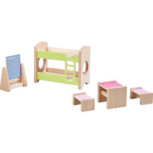 HABA Little Friends – Puppenhaus-Möbel Kinderzimmer für Geschwister, bunt