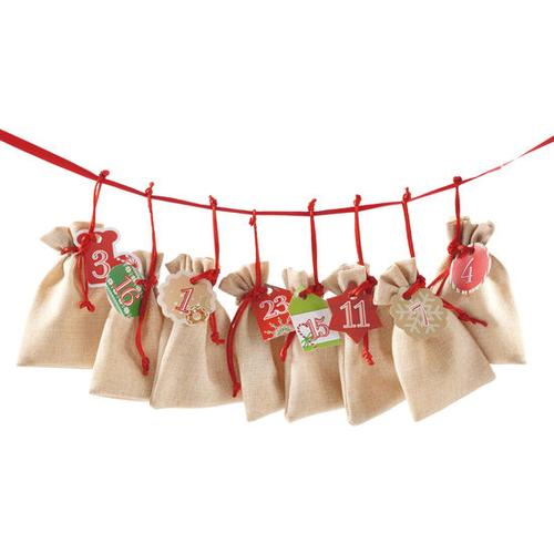 Adventskalender-Beutel-Set, beige