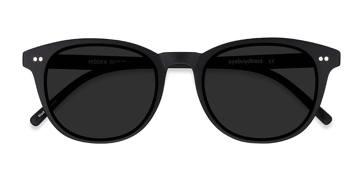 Unisex Oval Black Plastic Prescription sunglasses - EyeBuydirect's Hidden