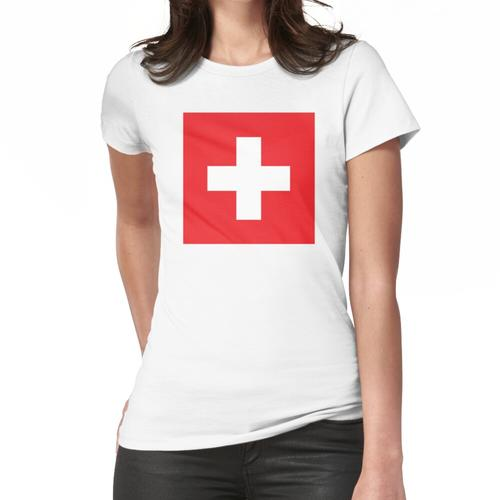 Schweizerisch. Schweiz. Schweizer Flagge. Flagge der Schweiz. Weißes Kreuz. Schweizer Frauen T-Shirt