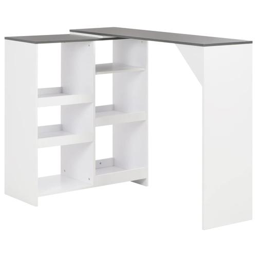 vidaXL Bartisch mit Beweglichem Regal Weiß 138 x 40 x 120 cm