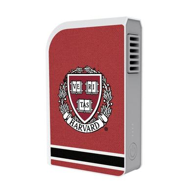 """Harvard Crimson Striped 6000 mAh Phone Charging Powerbank & Personal Fan"""