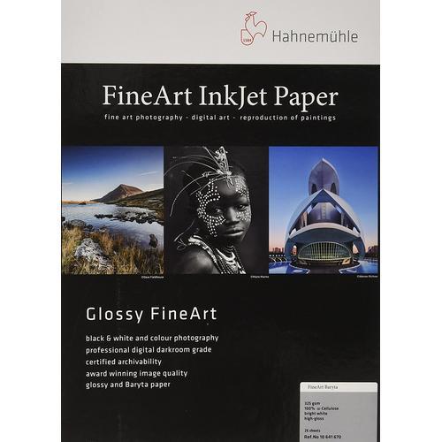 Hahnemühle FineArt Baryta Highgloss (325g/m², A2, 25x), Fotopapier, Weiss