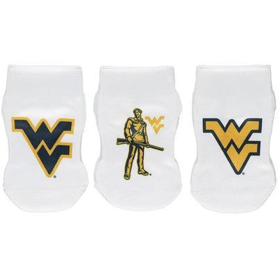 West Virginia Mountaineers Strideline Newborn & Infant Three-Pack Booties - White