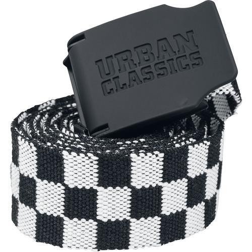 Urban Classics UC Canvas Belt Checkerboard 150cm Gürtel - schwarz weiß