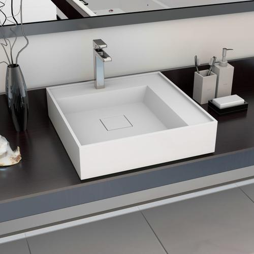 vidaXL Waschbecken 50 x 50 x 12,3 cm Mineralguss/Marmorguss Weiß