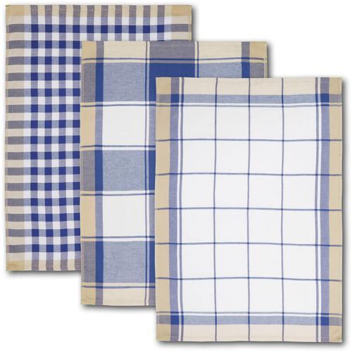 Dyckhoff Geschirrtuch KARO, mit drei verschiedenen Motiven blau Geschirrtücher Küchenhelfer Haushaltswaren
