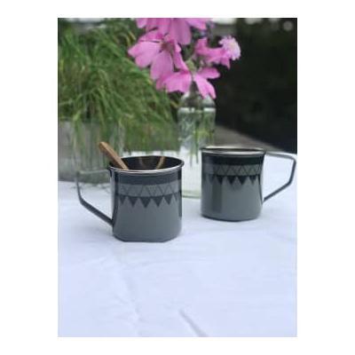 home - Satara Hand Painted Mug Grey - Set of 2 / grey