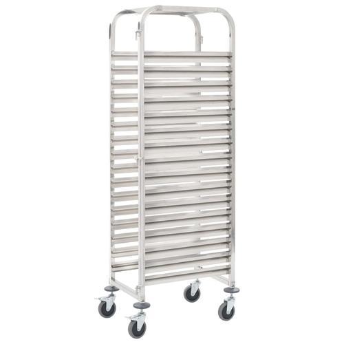 vidaXL Tablettwagen für 16 Tabletts 38x55x163 cm Edelstahl