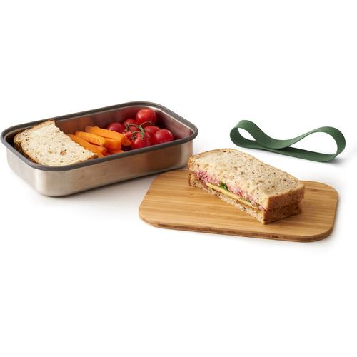 black+blum Lunchbox, (3 tlg.), inkl. Bambusdeckel grün Lunchbox Aufbewahrung Küchenhelfer Haushaltswaren