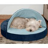 FurHaven Microvelvet Snuggery Gel Top Covered Cat & Dog Bed w/Removable Cover, Navy, 26-in