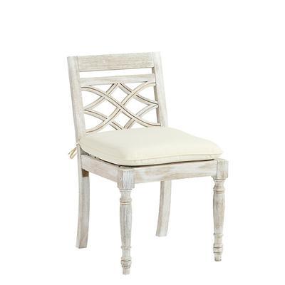 Ceylon Whitewash Side Chair Replacement Cushion Canopy Stripe Black/White Sunbrella - Ballard Designs