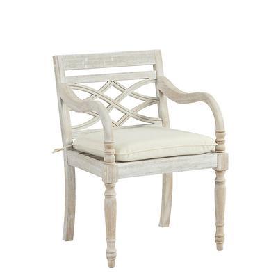 Ceylon Whitewash Armchair Replacement Cushion Canopy Stripe Taupe/Sand Sunbrella - Ballard Designs