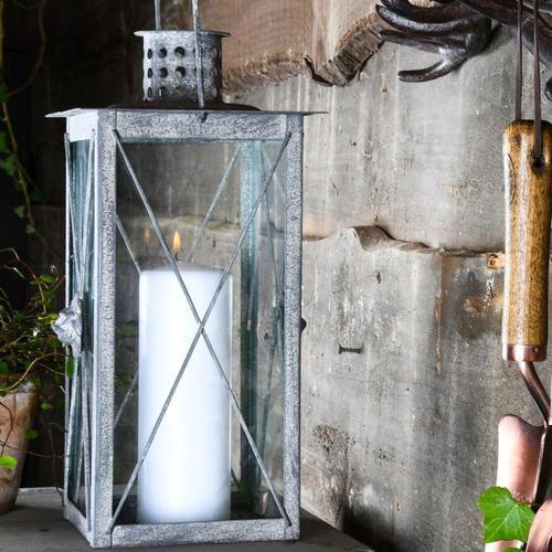 Standlaterne Rom, 37x19x19 cm, Stahl, weiß