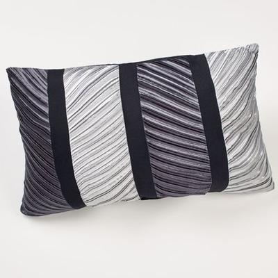 Omega Pleated Pillow Dark Gray Rectangle, Rectangle, Dark Gray