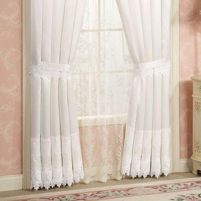 Trousseau Lace Tailored Curtain Pair, 112 x 95, White