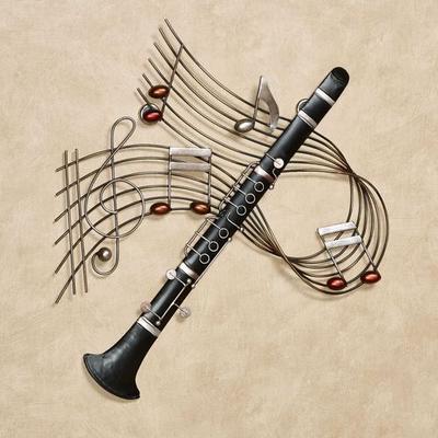 Clarinet Melodies Wall Art Black , Black