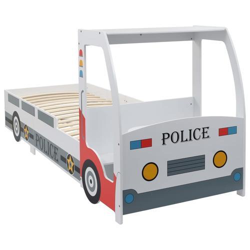 vidaXL Kinderbett im Polizeiauto-Design mit Schreibtisch 90 x 200 cm