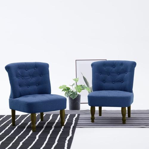 vidaXL Französische Stühle 2 Stk. Blau Stoff