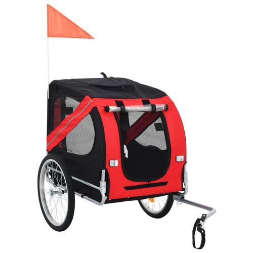 vidaXL Hunde-Fahrradanhänger Rot und Schwarz