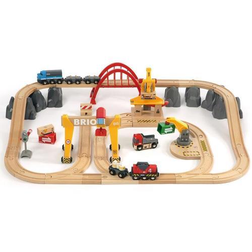 BRIO Spielzeug-Eisenbahn WORLD Frachten Set Deluxe, FSC-Holz aus gewissenhaft bewirtschafteten Wäldern beige Kinder Ab 3-5 Jahren Altersempfehlung