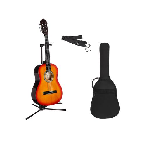 Gitarrenset Konzertgitarre, 1/4, inkl. Gitarrentasche und Gitarrengurt braun Gitarre Musikinstrumente