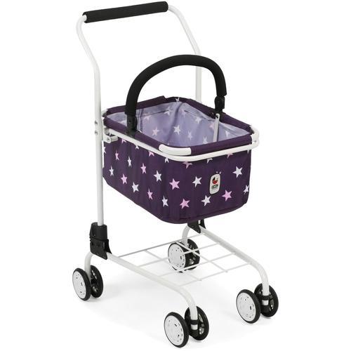 CHIC2000 Spiel-Einkaufswagen Kinder Einkaufswagen, Stars lila, mit abnehmbarem Einkaufskorb lila Kaufladen Zubehör Kinderküchen