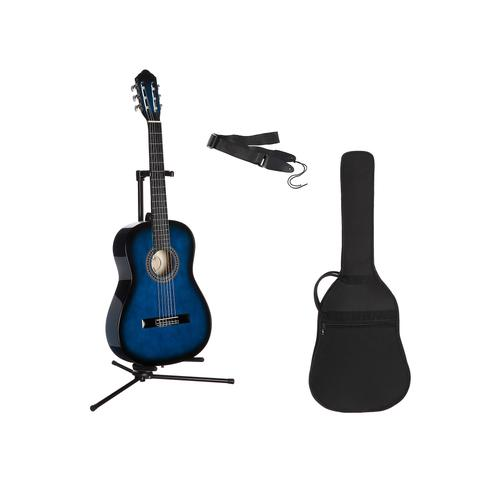 Gitarrenset Konzertgitarre, 1/4, inkl. Gitarrentasche und Gitarrengurt blau Audio SOFORT LIEFERBARE Technik