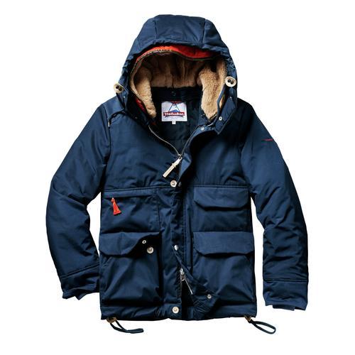 Holubar Herren Parka-Jacke Regular Fit Blau einfarbig