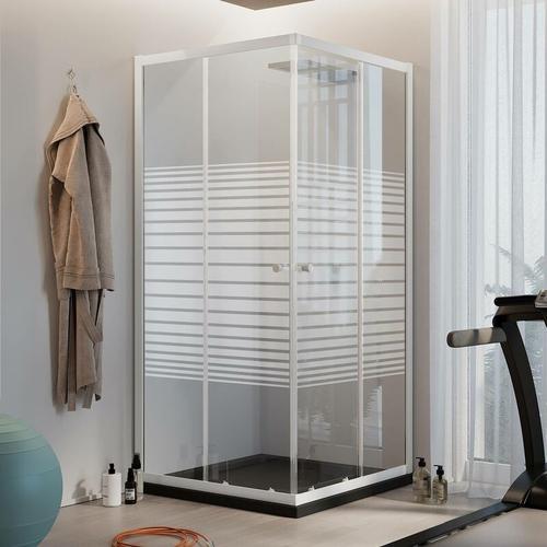 Rechteckig Duschkabine Weiß 90x75 CM H185 mit Milchglas Streifen Mod. Blanc