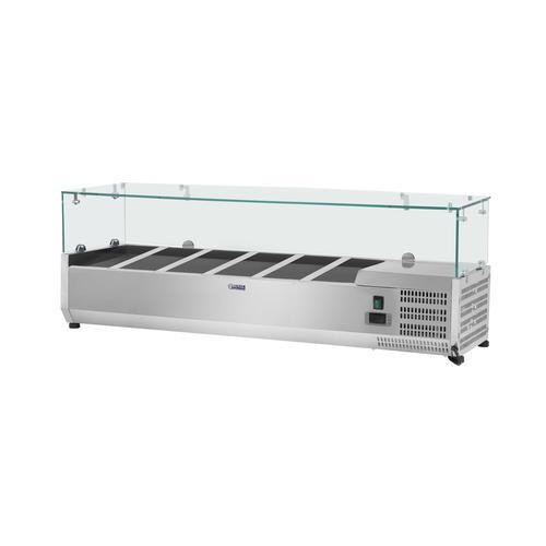 Royal Catering Kühlaufsatzvitrine - 140 x 33 cm - 6 GN 1/4 Behälter - Glasabdeckung RCKV-140/33-6