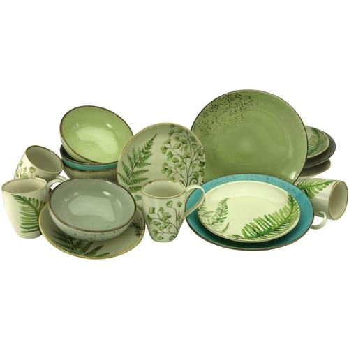 CreaTable Kombiservice Botanica, (Set, 16 tlg.), mit Blattmotiven bunt Geschirr-Sets Geschirr, Porzellan Tischaccessoires Haushaltswaren