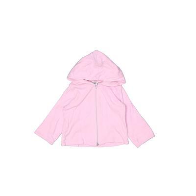Sweet Peanut Zip Up Hoodie: Pink Solid Tops - Size 6-12 Month