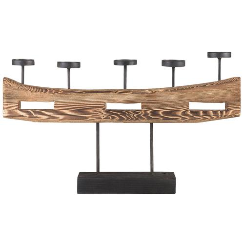 Kerzenständer Holz Braun 36 x 60 cm Kerzenhalter für 5 Kerzen Modern