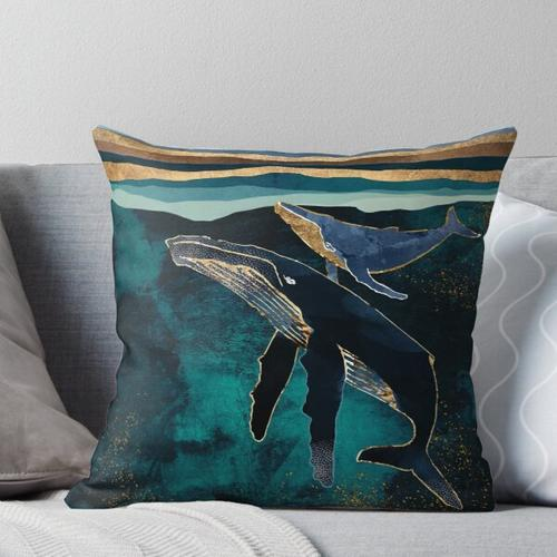 Moonlit Whales Throw Pillow