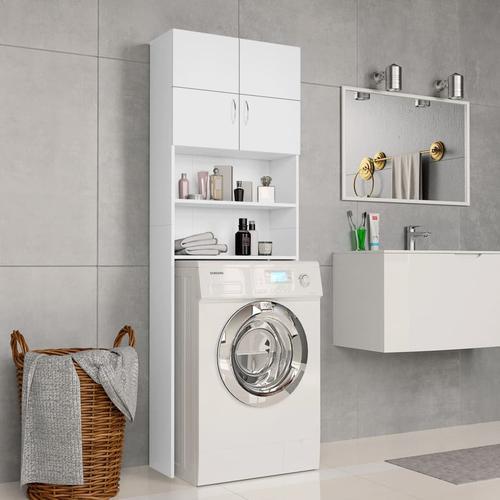 vidaXL Waschmaschinenschrank Weiß 64×25,5×190 cm Spanplatte
