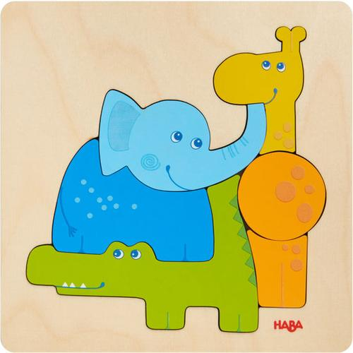 HABA Holzpuzzle Zootiere, bunt