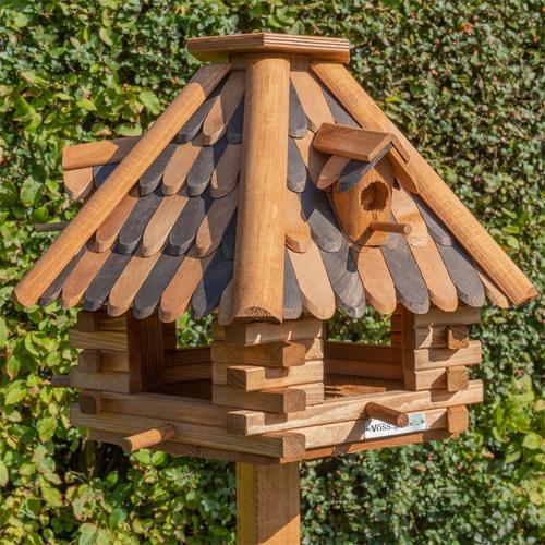 VOSS.garden LilleHus - hochwertiges Vogelhaus mit Dachschindeln, inkl. Ständer